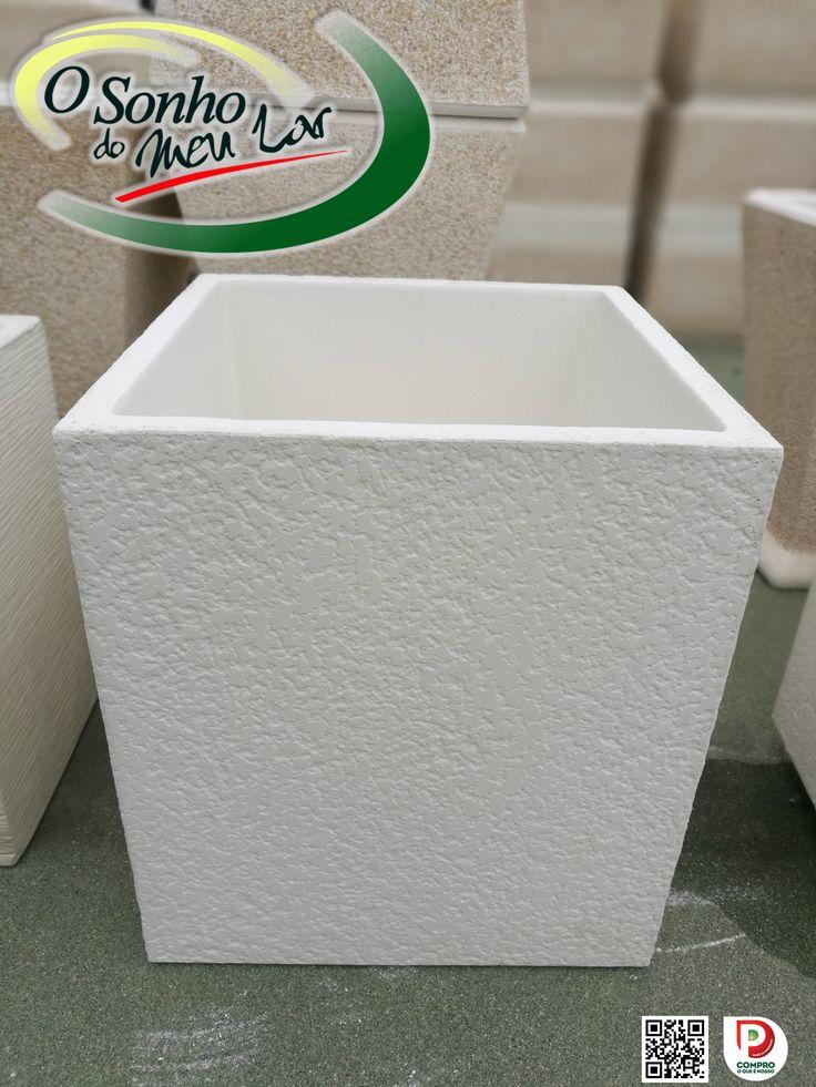 VASO TEXTURADO BRANCO (cimento branco) Medida: L40 x A45