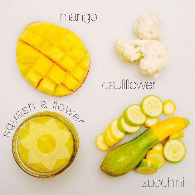 Mango, cauliflower, and zucchini puree #babyfood #homemade #foodiebabies