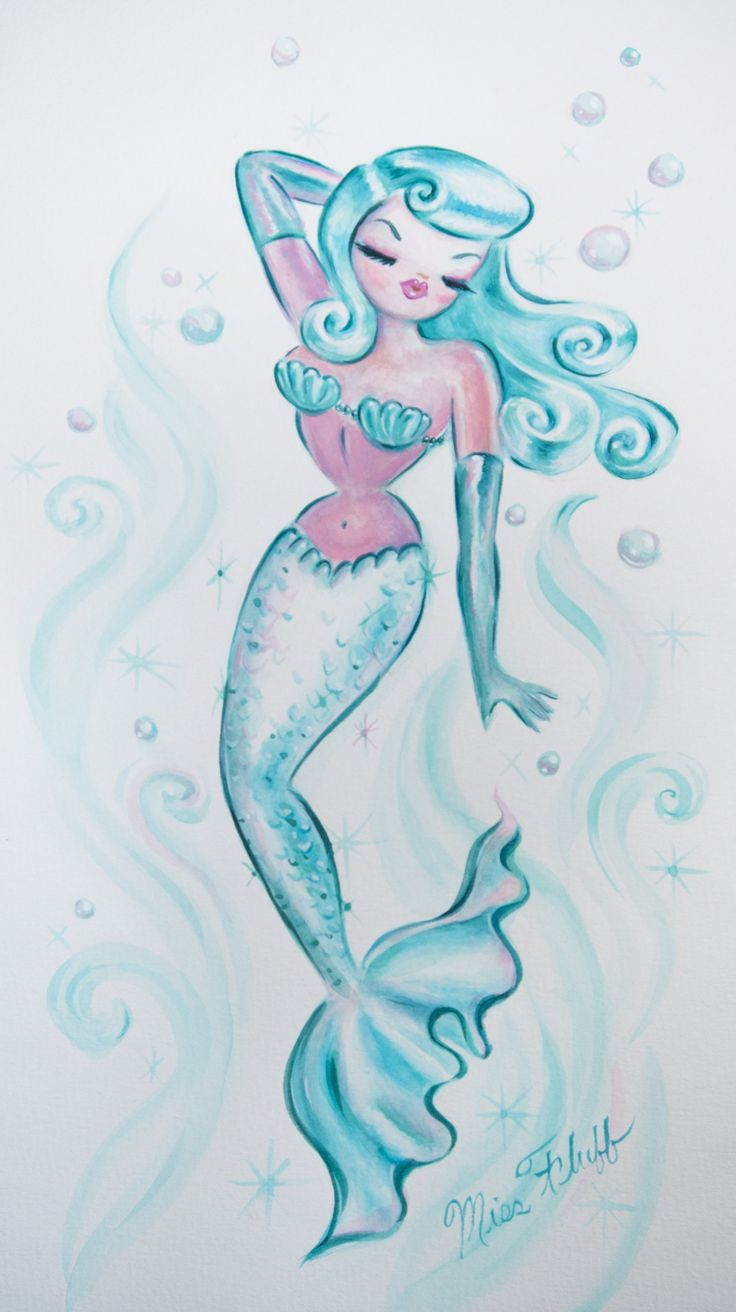 ♥ Dreamy Pin Up Mermaid ♥ - original art by Miss Fluff. Available here http://cgi.ebay.com/ws/eBayISAPI.dll?ViewItem&item=181329790354