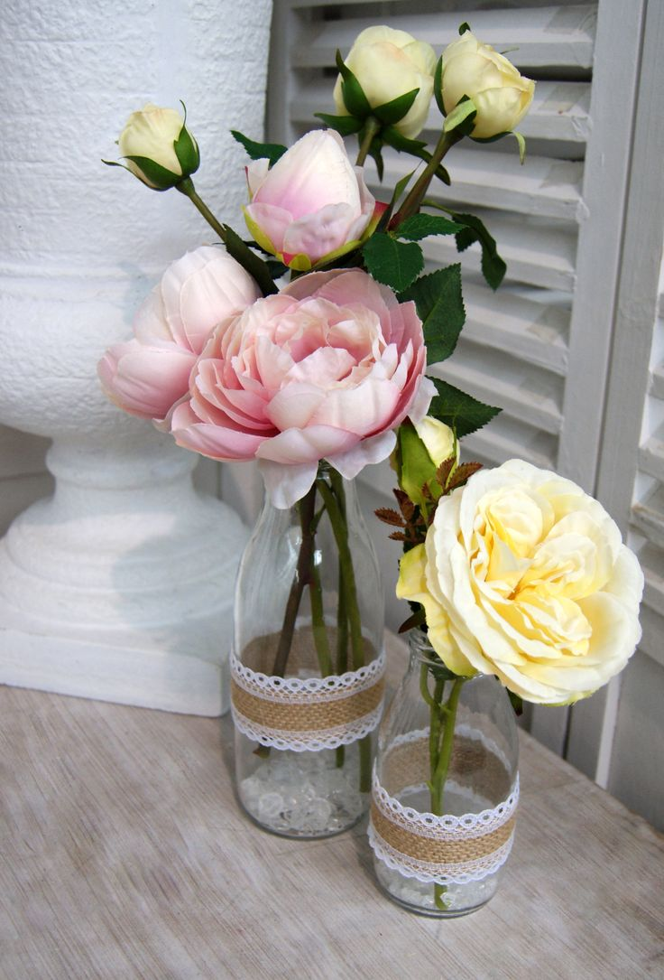 Flower table decorations for weddings - Wedding Table Decorations Small Milk Bottles With Pink And Lemon Roses Artificial Flowers