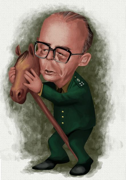 #Caricatura de João #Figueiredo, #ditador do país de 15/03/1979-15/03/1985.