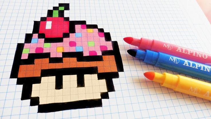 Handmade Pixel Art - How To Draw Cupcake Mushroom #pixelart