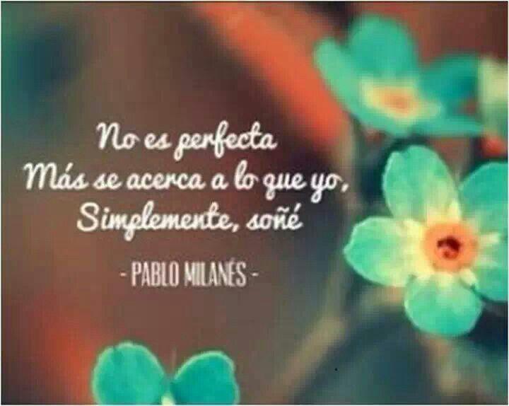 No es perfecta más se acerca a lo que yo simplemente soñé. Pablo Milanes