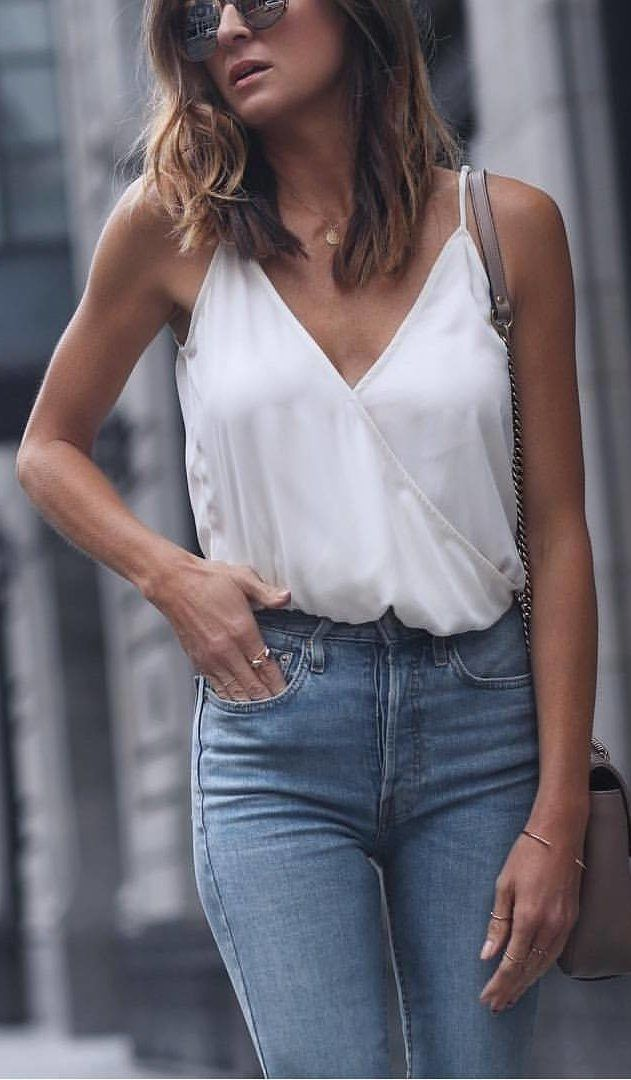 #fall #outfits women's white spaghetti strap top and blue denim jeans