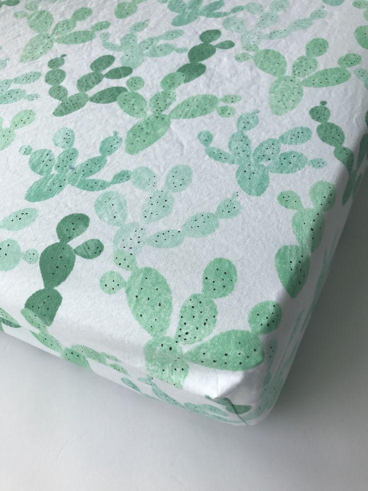 Cactus Crib Sheet, Southwestern Nursery, Gender Neutral Print, Cacti Crib Sheet, Tribal Crib Bedding, Green Crib Bedding