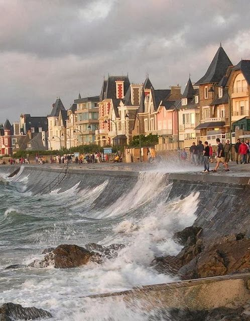 Saint-Malo, Brittany, France. There's just something about the ocean hitting the rocks. <3