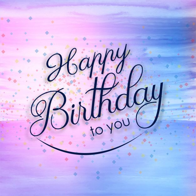 Beautiful Happy Birthday Card Colorful Watercolor Background Free