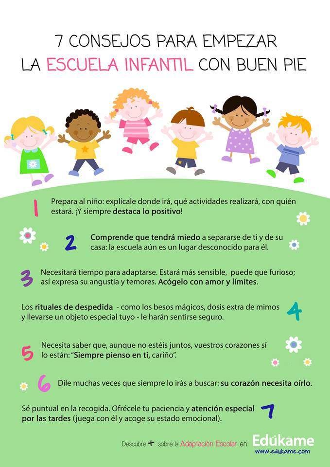 7 consejos para comenzar la educación infantil con buen pie  (repineado por @PabloCoraje)