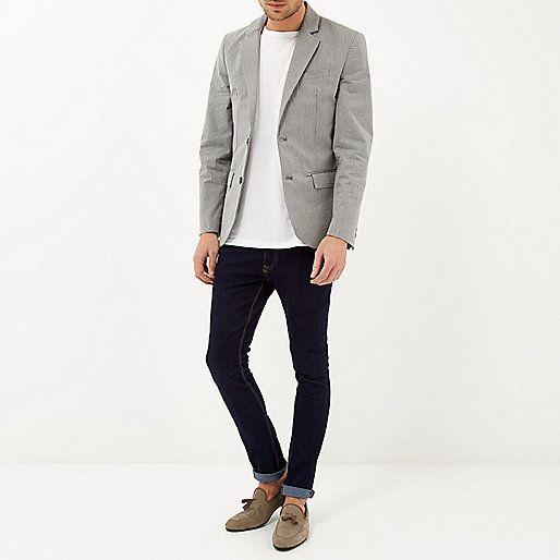 Grey cotton seersucker blazer - blazers - coats / jackets - men