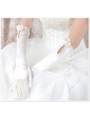 Satin Elbow Length Fingertips Flower Girl Gloves