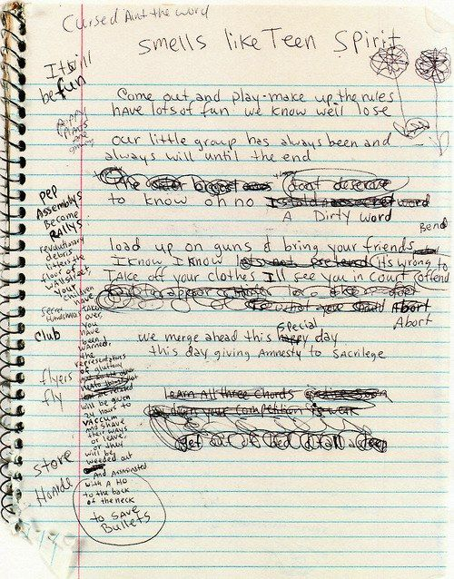 Smell Like Teen Spirit draft. RIP Kurt Cobain 19 years ago today - April 5, 2004