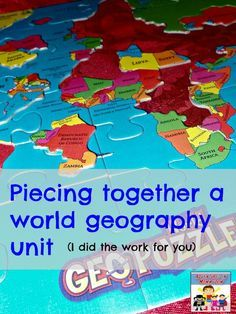 world geography unit for elementary and middle school with lots of hands on elements to keep them involved