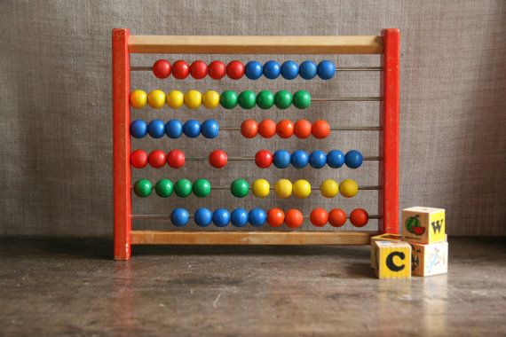 Vintage Wooden Abacus for Boys and Girls Christening Baby Shower Gift, Room Decor, Counting Toy Game