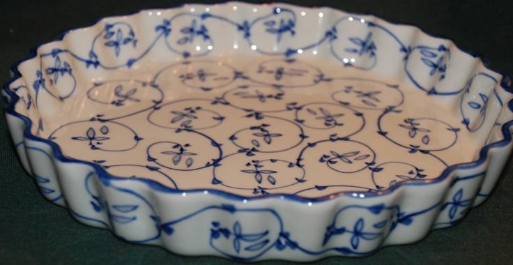 oriental blue quiche dish