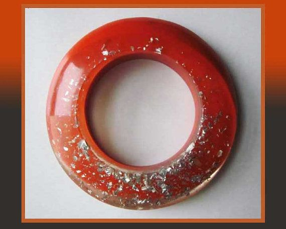 Glittering GALAXY-Bold Modern Orange/Clear Resin Bangle Bracelet with Swirling Metal Inclusions,Vintage Jewelry,Women