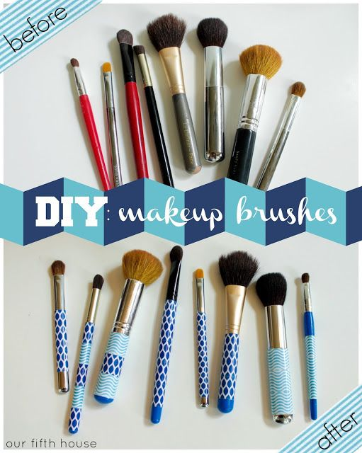 Use decorative tape to make old, beat up makeup brushes pretty again!  //  via @Carmel (@ Our Fifth House) Phillips