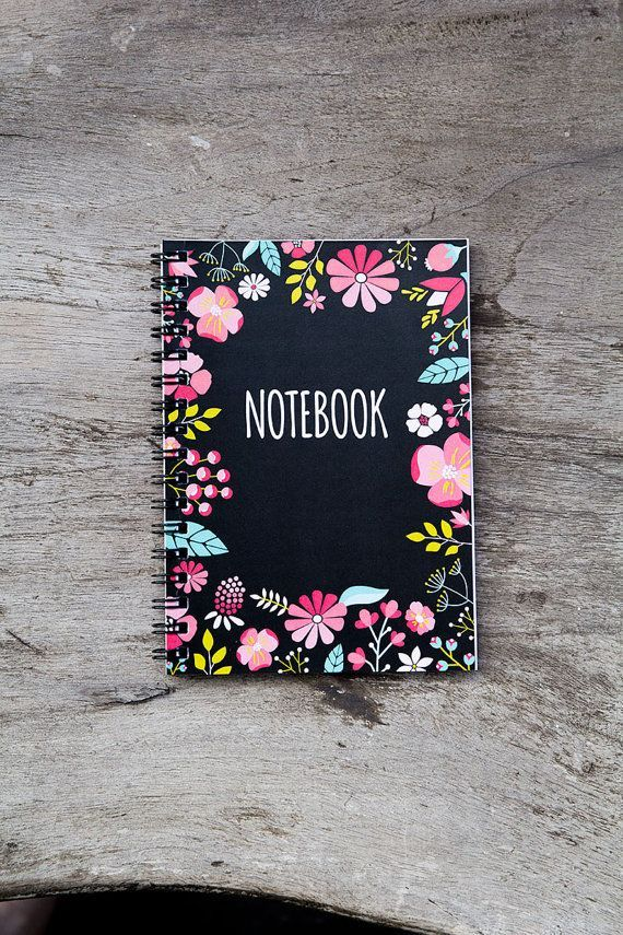 Flower notebook, spiral notebook journal, lined notebook, pocket notebook, blank book pages, travel accessories, spring floral art favor