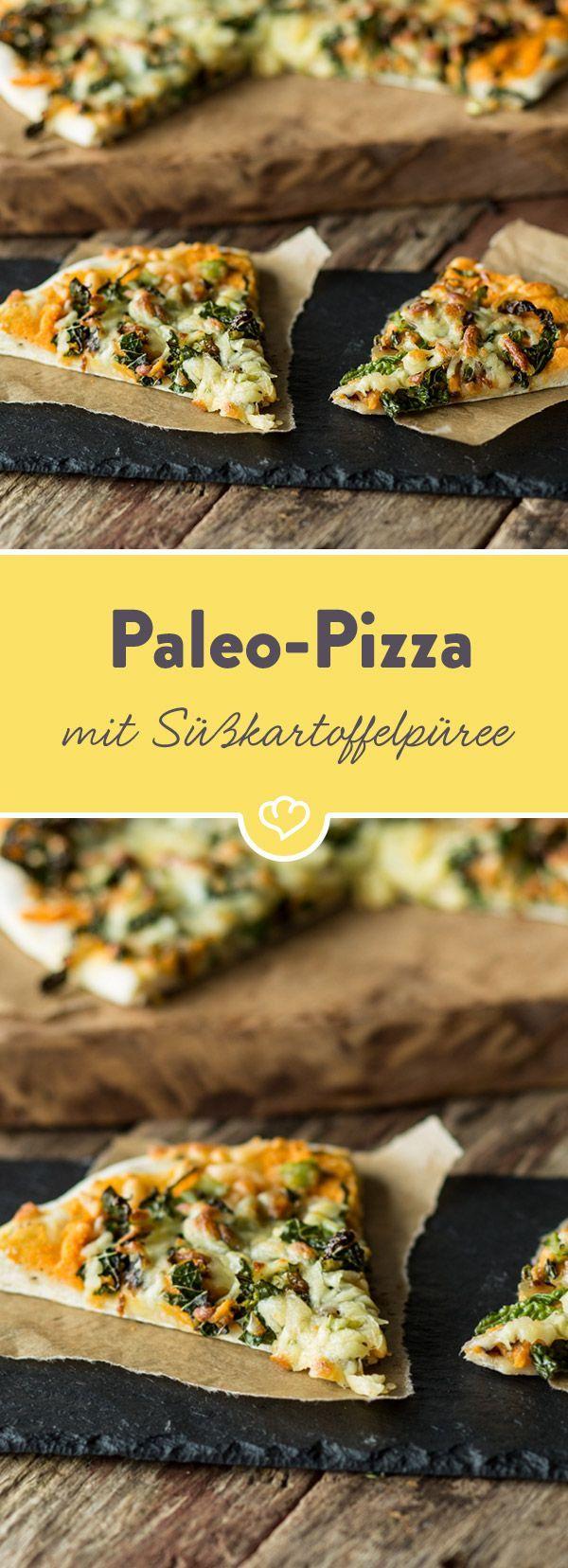 So lecker und kreativ kann Paleo sein: Knuspriger Teig – ohne Getreide – trifft hier auf Süßkartoffelpüree und gebratenen Grünkohl. Gleich ausprobieren!
