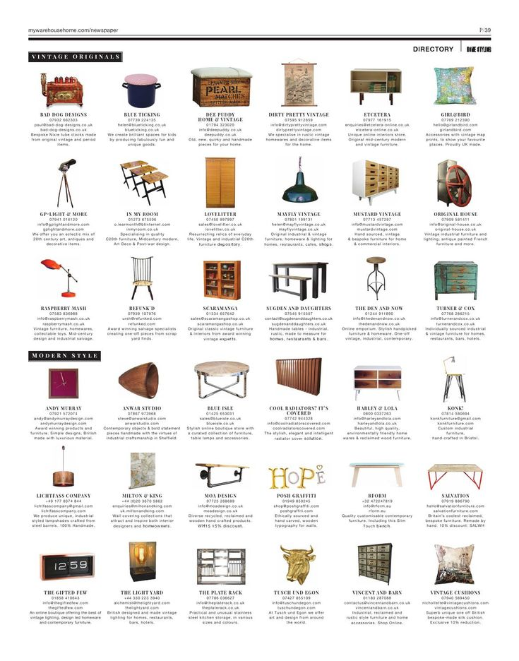 Warehouse Home Issue Three | Warehouse Home Directory | Industrial design | Warehouse Design | British designers | Warehouse designers | Industrial designers | Modern furniture | Vintage furniture | Vintage style | Contemporary style | Contemporary interiors