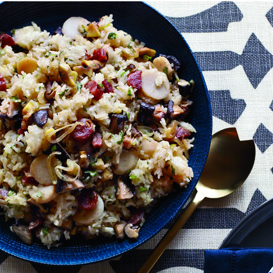 "Sticky-Rice Dressing | Joanne Chang says, ""A Chinese meal isn't complete without rice; Thanksgiving isn't complete without stuffing. This sticky-rice dressing combines the best of both worlds."" Chinese sausage makes the rice deliciously sweet and savory. Chang likes using the Kam Yen Jan brand, which has no MSG; look for it at Asian markets."