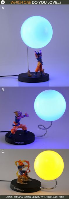Hey DBZ Lovers, which one do you love the most for your own room? A, B or C.  See them all here: https://lamplanet.com/collections/dragon-ball  Join over 6000+ happy customers and counting more every day, that love our creative lamps.   #lamplanet Lamps R