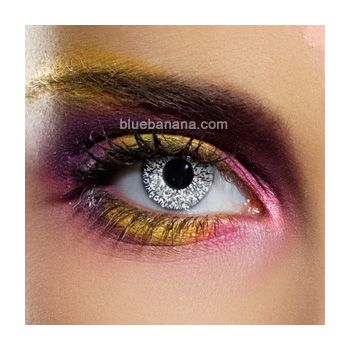 glitter contacts?! brilliant!  Silver Glimmer Coloured Contact Lenses