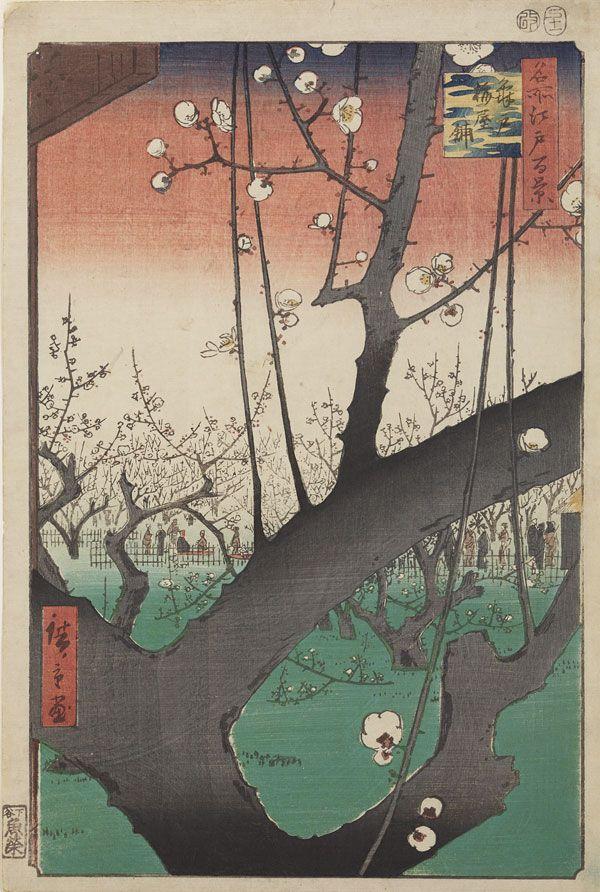 Utagawa Hirioshige (1798-1858), Ogród śliw w Kameido // Plum garden in Kameido