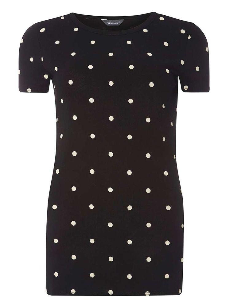 Womens **Tall Monochrome Polka Dot Print T-Shirt- Black