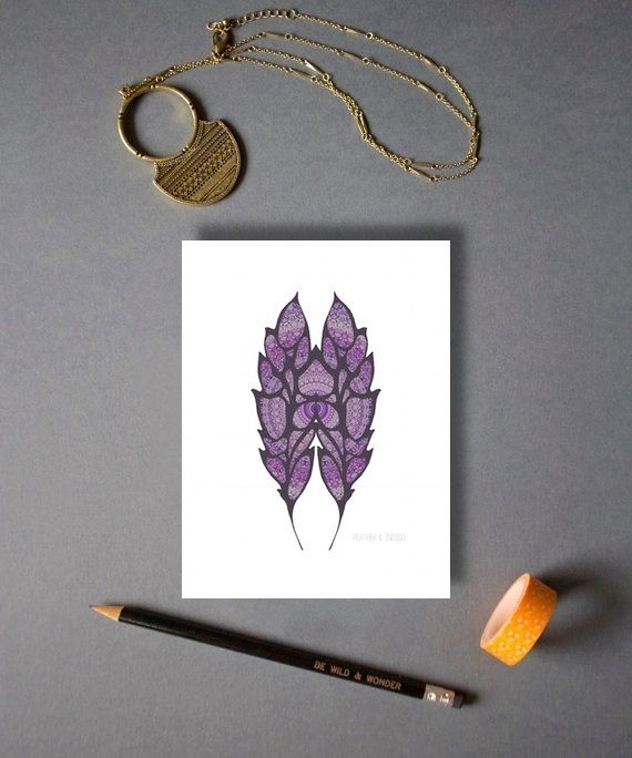 Double feather print poster dark purple wall by FeatherAndIndigo