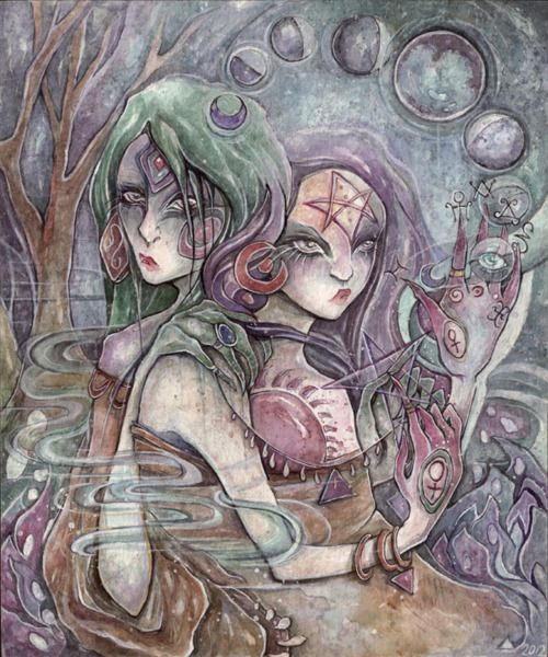 occult moons by saffronlungs  may 2012 watercolour