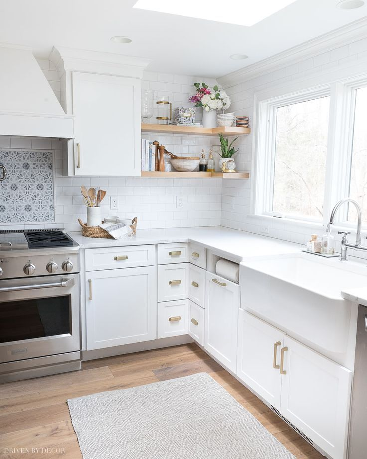 The Floating Corner Shelves In Our Kitchen All The Details Driven By Decor In 2020 Corner Shelves Kitchen Corner Kitchen Cabinet Floating Shelves Kitchen