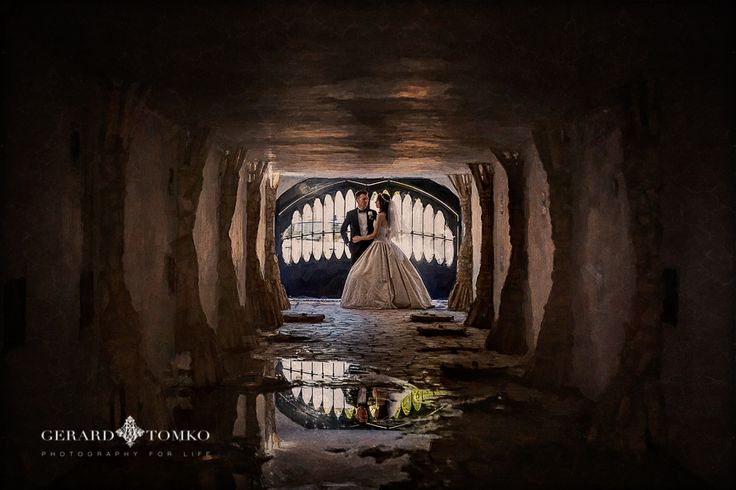 Creative Bride and Groom portrait. Reflections. Argentina destination wedding. Day after session. Ancient Winery House and Museum in San Juan, Argentina. Old caves area. Wedding Photographer | Gerard Tomko.