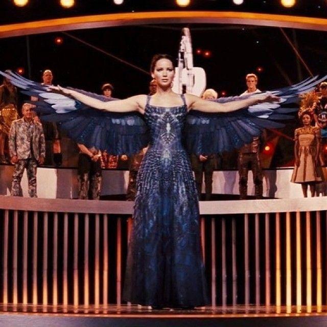 Jennifer Lawrence aka Katniss..Beautiful dress and concept, LOVE the wings