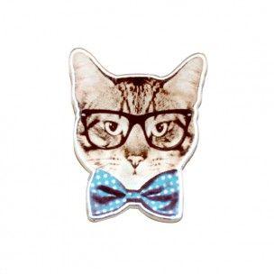 Adoptez cette broche Chat trendy au noeud papillonsuper originale! Sur une veste, une chemise, un tee-shirt ou un sac, elle fera sensation!