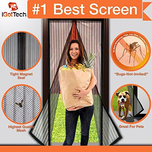 """Magnetic Screen Door: Premium Quality, TOUGH CONSTRUCTION. Velcro SEWN Around ENTIRE Frame-NO GAPS! 36"""" x 83"""" Frame =Fits Door Openings UP TO 34"""" X 82"""" MAX. Wont Fall Apart Like Magic Mesh As Seen On TV, Magna. """"Bugs-Not-Invited"""" Guarantee! iGotTech http://www.amazon.com/dp/B00KZNOHTW/ref=cm_sw_r_pi_dp_r5rDvb0SW6QQJ"""