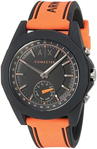 Armani Exchange Men's AXT1003 Orange Silicone Connected Hybrid Watch #Watch