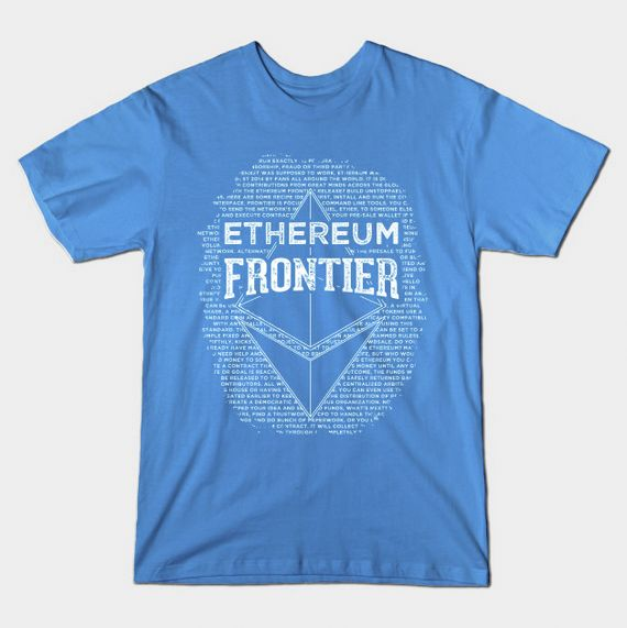 Awesome 'Ethereum Frontier Grunge' T-shirt design on TeePublic! Design by Andras Balogh | http://andras.design