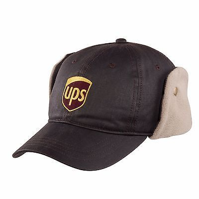 Fleece Lined Hat with Earflaps UPS Logo United Parcel Service - Brown