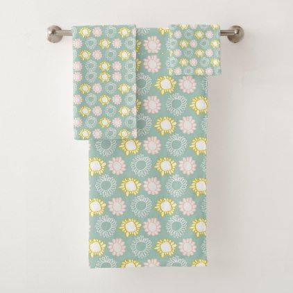 Modern Flowers II Bath Towel Set - home gifts ideas decor special unique custom individual customized individualized