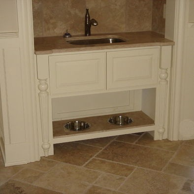 Sink and dog bowls in mud room