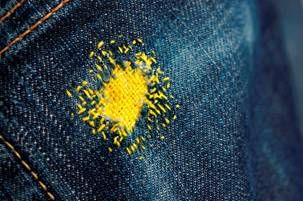 Creative darning for holes in jeans, and I couldn't have found this at a better time!