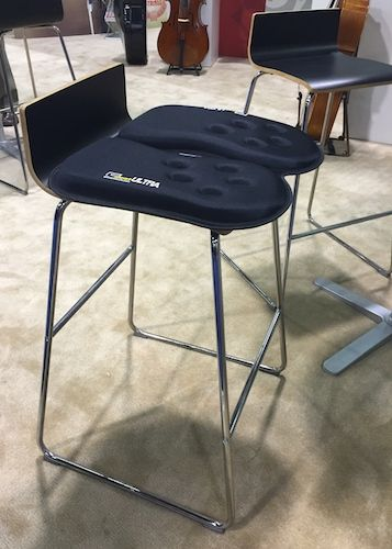 The GSeat Ultra made its debut at the 2016 NAMM Show in Anaheim, California.   The GSeat Ultra provides back support and comfort for orchestral musicians who sit through long hours of rehearsal.