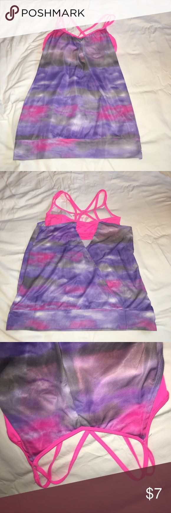 Strappy pink and purple tye dye workout top Mesh purple/pink tye dye fitness top with strappy pink attached bra RBX Tops Tank Tops