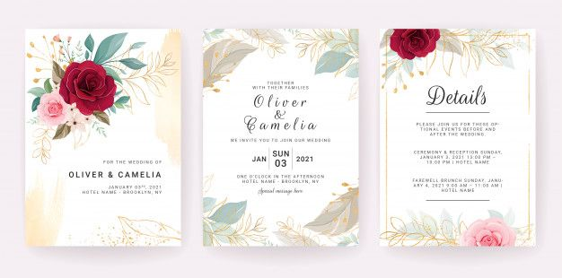Elegant Wedding Invitation Template Design Of Red And Peach Rose Flowers And Gold Leaves Wedding Invitation Templates Wedding Invitations Romantic Floral Wedding Invitation Card