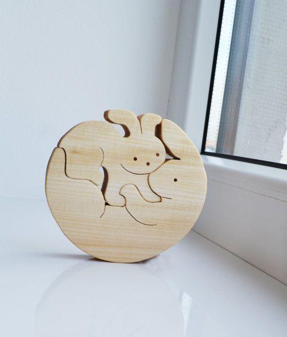 Holz-Kaninchen Familie - Wooden Puzzle Hase - Pädagogische Spielwaren - Spielzeug Montessori - Kinder Geschenke - Tier puzzle