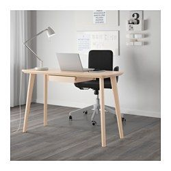 IKEA - LISABO, Desk, , Each table has its own unique character due to the distinctive grain pattern.The ash veneer table surface and solid birch legs add a warm, natural feeling to your roomAsh is a naturally durable material. The surface has been made even more hard-wearing by a protective coat of lacquer, which also helps it keep its natural wood feel.Easy to assemble as each leg has only one screw.Drawer stops prevent the drawers from being pulled out too far.
