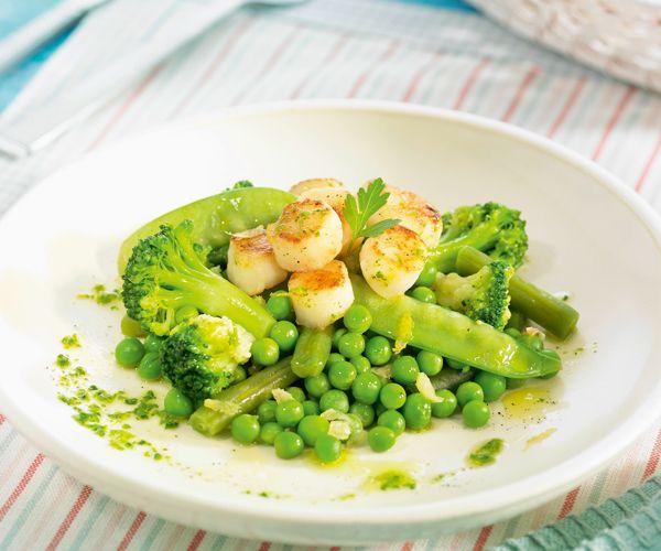#Légumes verts à la #vapeur aux #noix de #saint-jacques