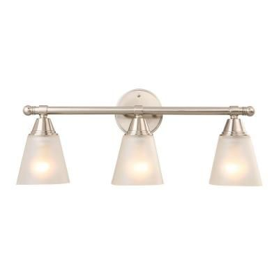 Bathroom Vanity Lights Hampton Bay 3 Light Brushed Nickel Vanity Gjk1393a 4 Bn The Home Depot