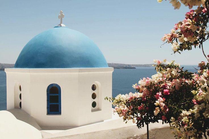 "LEILANI KRIENKE on Instagram: ""Santorini™ #bluedome 🇬🇷🌸 . . . . #greece #bluedome #bougainvillea #visitgreece #santorini #explore #cross #dome #building #tree #oia #pretty…"""