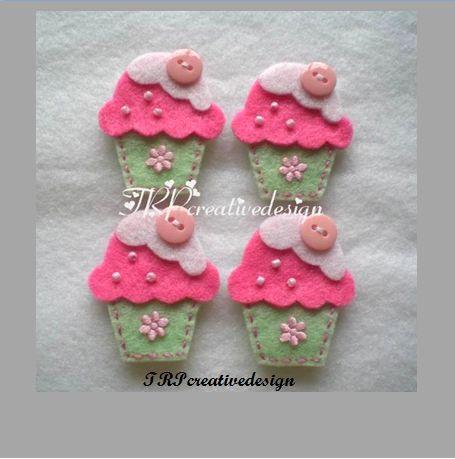 DOPPI strati Cupcake feltro Applique con pulsante Cute (menta verde - rosa) - Set di 4 pz